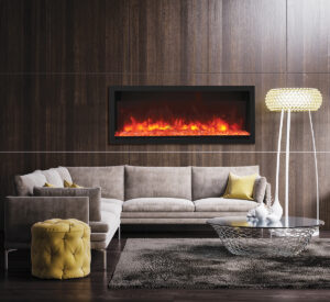 Remii Fireplace in modern room. Decor ideas, homedecorey.com